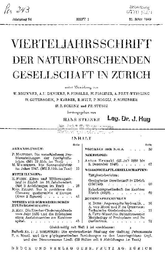 vierteljahrsschrift 94/1 — naturforschende gesellschaft in